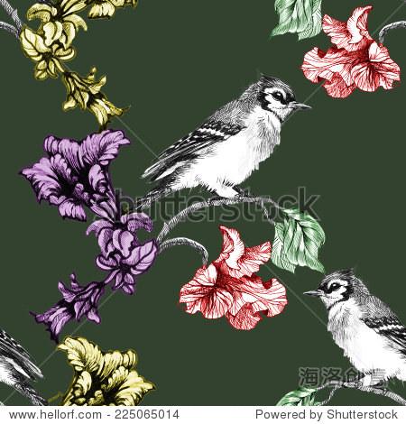 鸟在树枝花无缝模式在绿色背景矢量插图