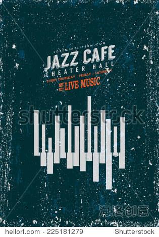 向量的爵士乐海报模板.抽象的钢琴键盘显示波形,管风琴和城市天际线.