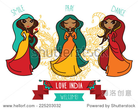 三个可爱的涂鸦印度女孩,旗帜前往印度,矢量插图-人物