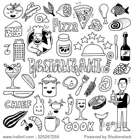 餐厅涂鸦组1.手绘.矢量插图.