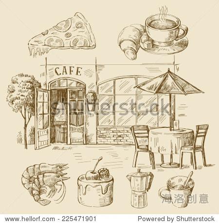 向量与手绘插图的咖啡馆
