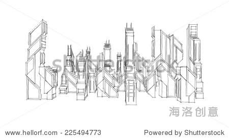 未来城市建筑草图-建筑物/地标,背景/素材-海洛创意