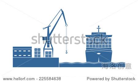 集装箱船在港口.矢量图