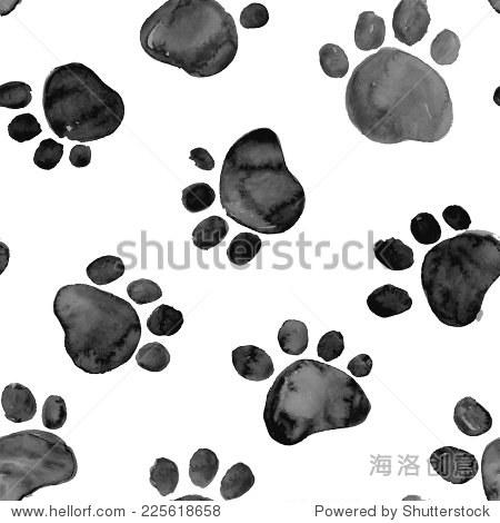 黑色的手绘水彩插图与动物的脚印