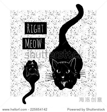 矢量手绘卡与可爱的黑猫无缝模式 - 背景/素材,艺术