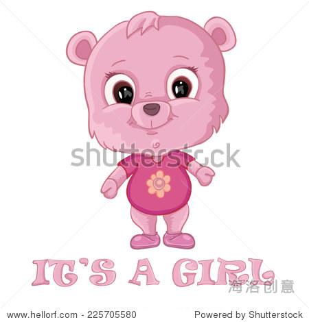 小女孩洗澡卡与可爱的熊