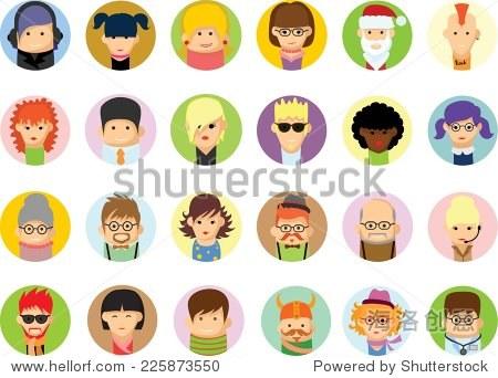一组向量平面设计可爱的人物头像图标-人物,符号/标志