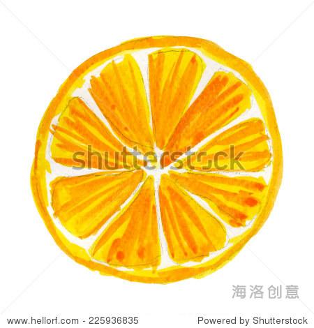 水彩插画的橙色纹理纸上.矢量插图