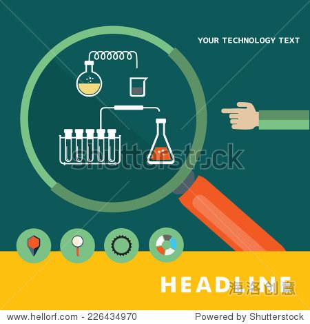 的平面设计图标在实验室实验-背景/素材,科学-海洛,,.