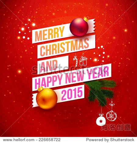 红2015年传统的圣诞贺卡.排版设计,现实的圣诞球和冷杉树分支.图片