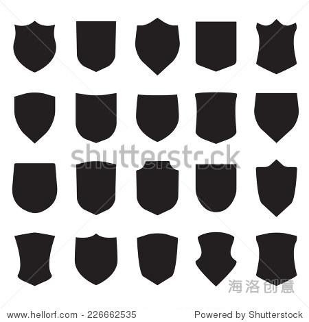 盾牌图标集 不同的黑色盾牌形状在白色背景 矢量插图 物体,符号 标志