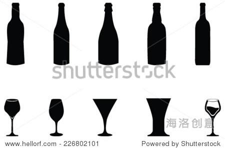 瓶矢量剪影插图和葡萄酒,啤酒玻璃