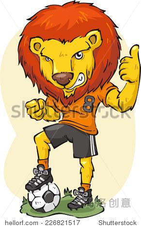 卡通插图的狮子踢足球. - 动物/野生生物,运动/娱乐