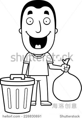一个快乐的卡通人倒垃圾.