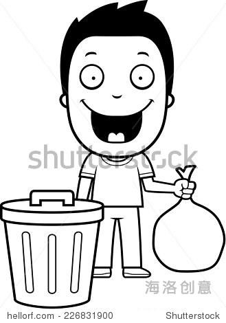 把垃圾丢到垃圾桶的简笔画图片