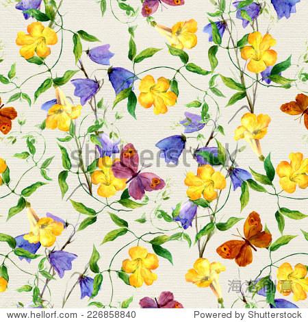 花朵,蓝铃花和蝴蝶 重复的模式 水彩 背景 素材,自然 站酷海洛图片