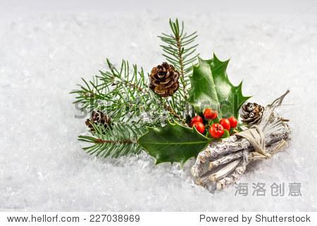 圣诞节和新年卡片,冬青树叶和浆果
