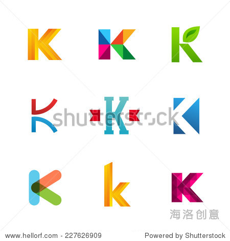 set of letter k logo icons design template elements.圖片