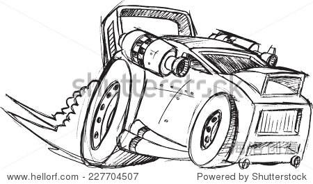 装甲车汽车草图矢量插图艺术