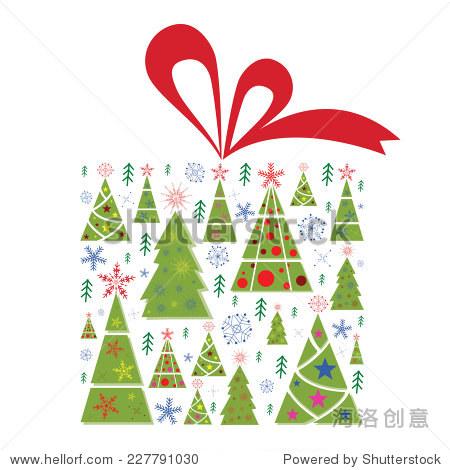 用红丝带矢量插图的圣诞礼盒.礼物盒充满绿色圣诞树和