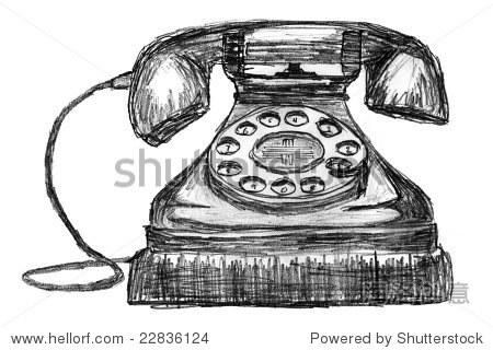 素描的老式电话