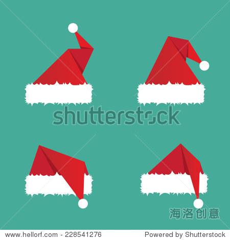 圣诞老人的帽子平图标.矢量图 - 背景/素材,抽象