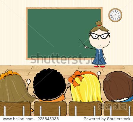 卡通插图的老师和学生在教室里 - 教育,人物 - 站酷