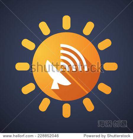 插图的太阳与天线图标-符号/标志,其它-海洛创意正版