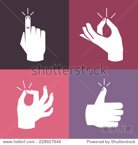 vector set of hands and gestures in flat style- magic snap okay