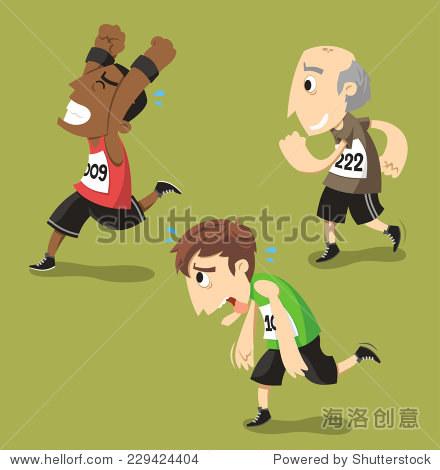 跑步跑步运动员训练慢跑,矢量插图漫画.