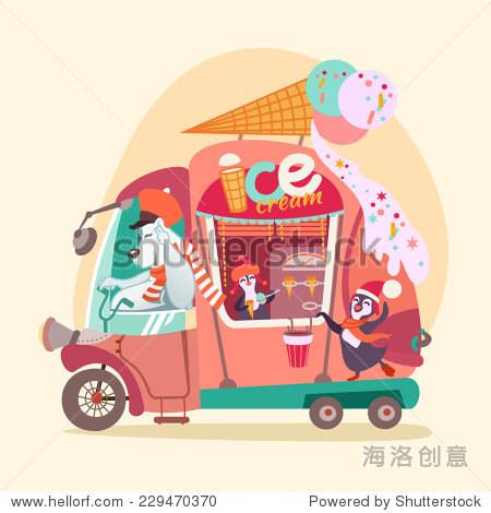可爱的卡通冰淇淋车/货车与北极熊和企鹅.矢量图