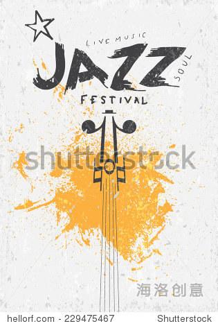 音乐海报背景模板 标签矢量手绘爵士音乐节 纹理效果可以被关闭 背景