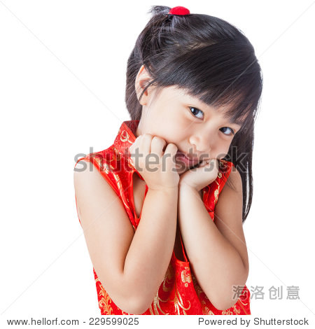 happy chinese little girl new year / smiling chinese kid girl