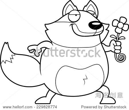 快乐的卡通花狐狸