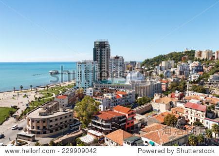 城市的俯视图都拉斯,阿尔巴尼亚