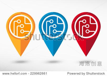 电路板地图指针,科技图标.