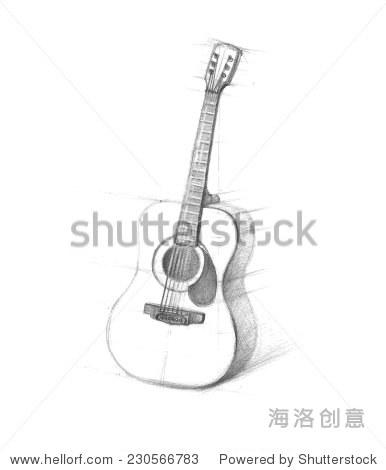 吉他白色背景上画的素描铅笔.6月吉他手工画.涂鸦.