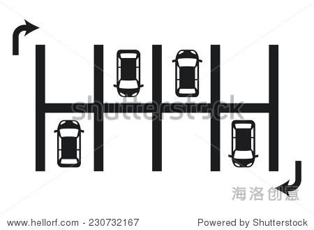 停车场平面设计,矢量插图