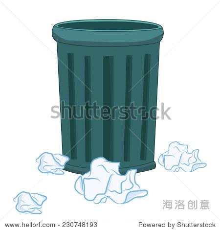 垃圾桶和纸孤立在白色背景说明
