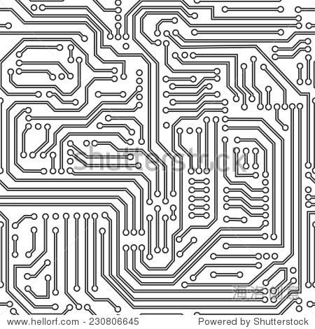 计算机电路板无缝模式.黑色和白色.向量. - 背景/素材