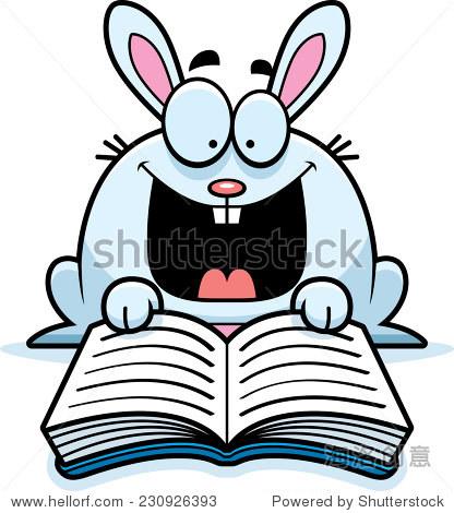 一只兔子的漫画插图看书. - 动物/野生生物 - 站酷,,.