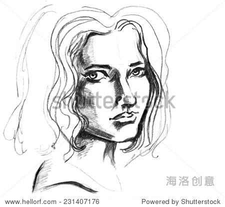 手绘素描的脸有卷发的女孩.女性肖像.-人物,美容/时装