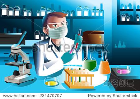 一個矢量插圖的科學家在實驗室工作的人
