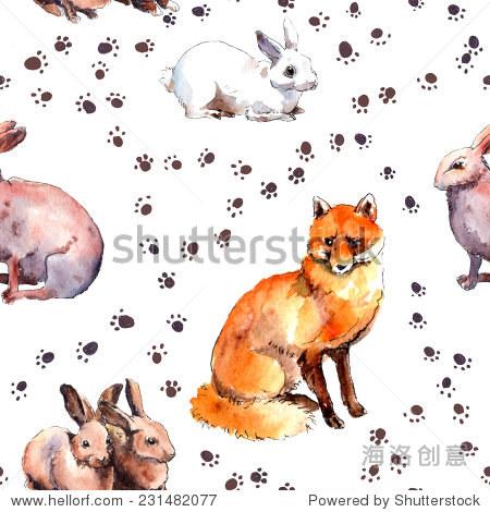 森林动物 兔子和狐狸 野生动物与脚印模式 重复水彩速写 动物 野生生