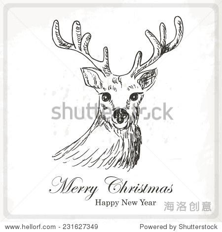 圣诞贺卡和鹿.手画矢量图-动物/野生生物,假期-海洛
