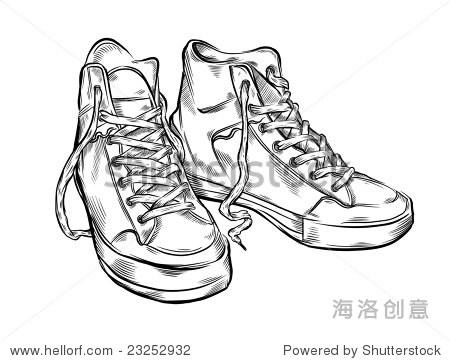 手绘运动鞋.矢量插图.