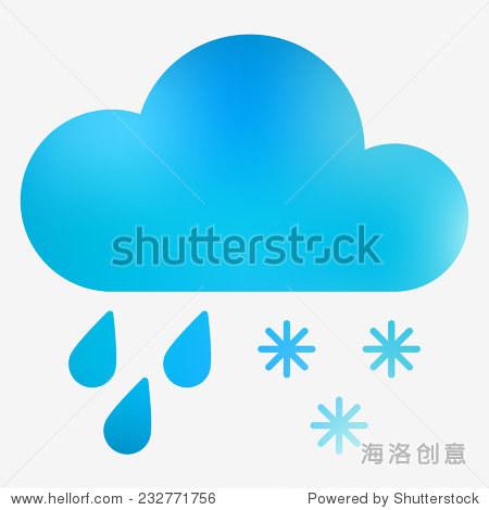 天气图标 云,雨滴和雪花 矢量插图 天气预报web应用程序或打印 自
