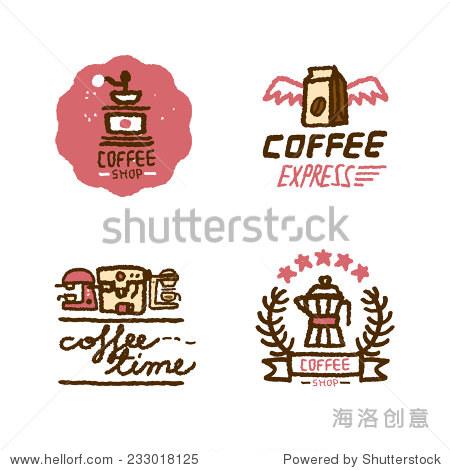 手绘咖啡店的标志
