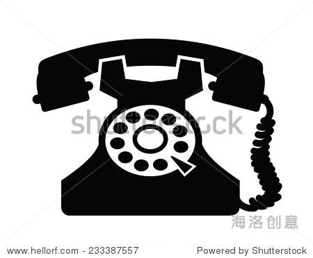 向量黑色老式电话图标白色