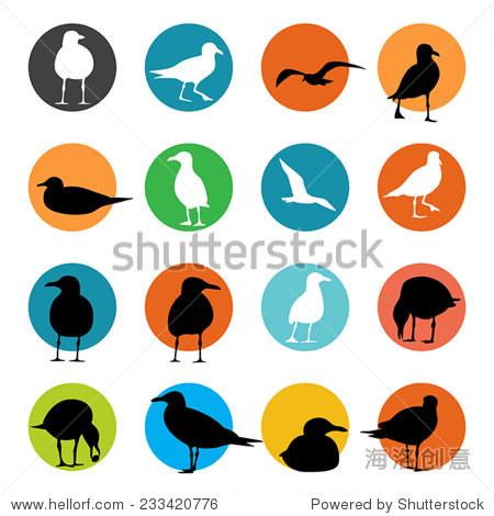 海鸥轮廓,向量 - 动物/野生生物,符号/标志 - 站酷,,.
